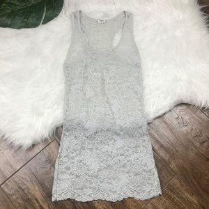 Aritzia • Wilfred Grey Sheer Lace Tank Top